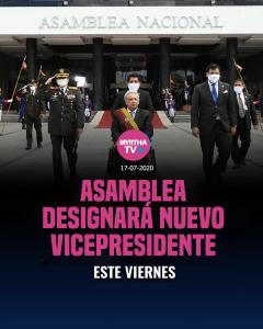 ASAMBLEA DESIGNARA NUEVO VICEPRESIDENTE ESTE VIERNES