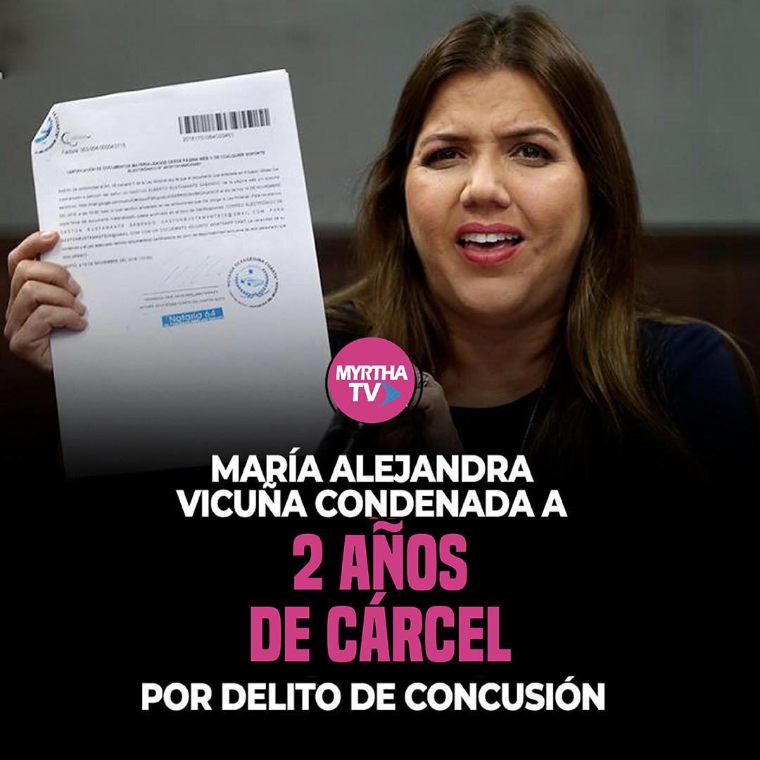 María Alejandra Vicuña condenada a 2 años de cárcel por delito de concusión