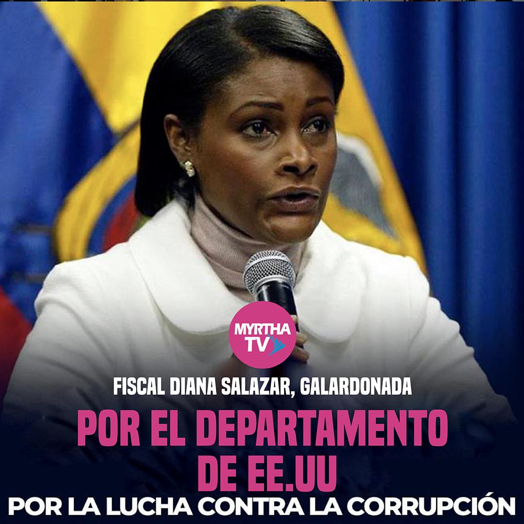 """La fiscal general Diana Salazar fue galardonada con el """"International Anticorruption Champions Award"""", otorgado por el Departamento de Estado de los Estados Unidos."""