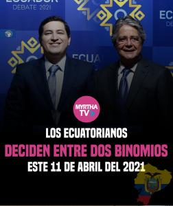 Los ecuatorianos  deciden entre dos binomios