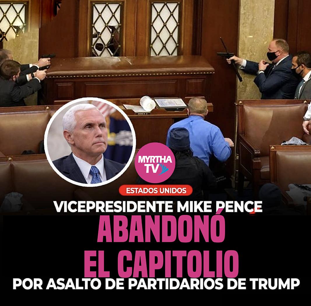 El vicepresidente Mike Pence fue evacuado del Capitolio por disturbios