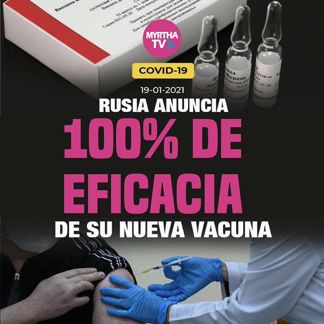 RUSIA ANUNCIA 100% deeficacia DE SU NUEVA VACUNA