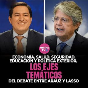 Economía, salud, seguridad, educación y política exterior, los ejes temáticos del debate entre Arauz y Lasso